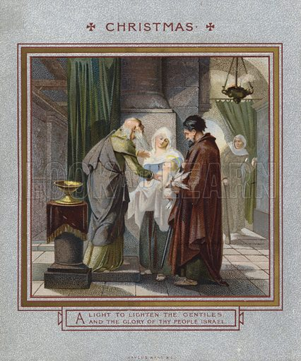 Christmas card: Jesus being presented in the Temple.  Published by Marcus Ward, late 19th century.