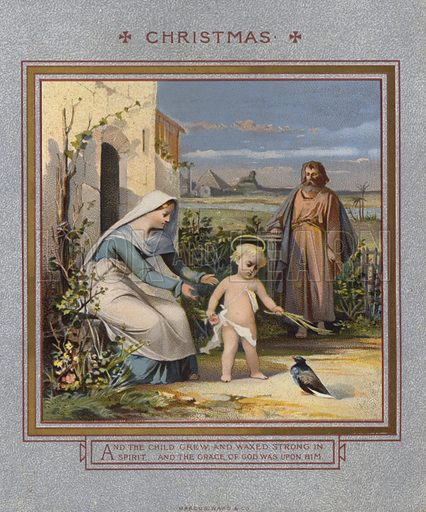 Christmas card: Jesus playing with a dove, watched over by his parents.  Published by Marcus Ward, late 19th century.