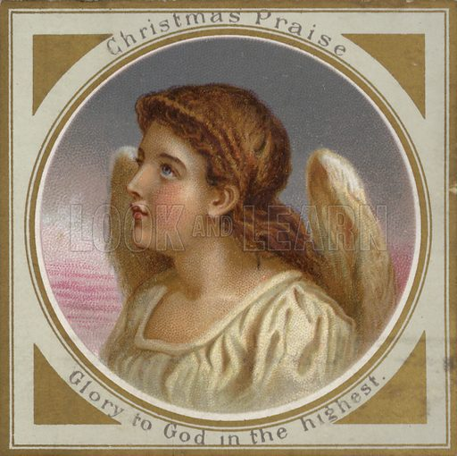 Angel.  Greetings card, late 19th century. Note: Image will require slight retouching if to be reproduced at large size.