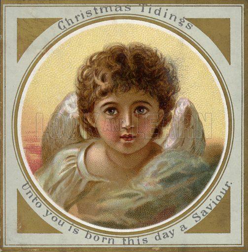 Angel.  Greetings card, late 19th century.