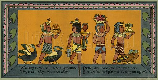 Egyptian themed Christmas card.  Published by L Prang, 1883.