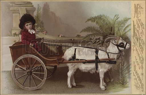 Girl in a goat cart, New Year's greetings card.