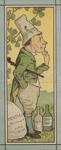 Ireland.  Menu illustration published by Marcus Ward, late 19th century.   Cropped image.