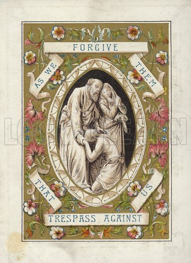 The Lord's Prayer.  One of a set of a dozen, illuminated cards.