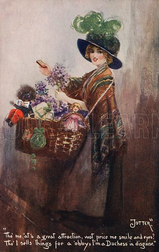 Girl selling flowers, and toys