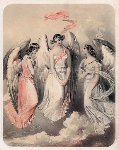 Three angels. Detail from music cover.