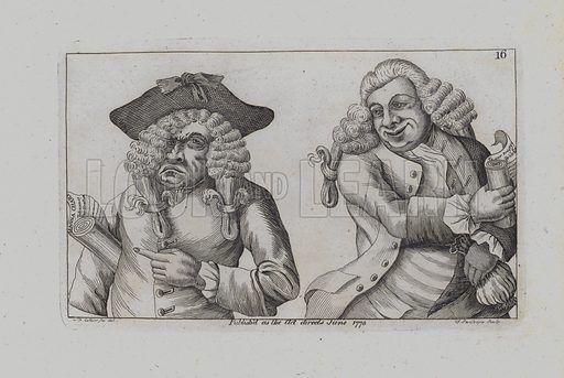 Two Wigged Men Burlesque the Magna Carta. Illustration for Collier's Humans Passions Delineated (John Heywood, 1773).