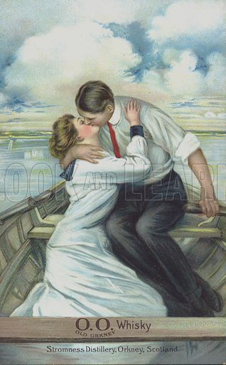 Couple kissing in a rowing boat – used to market Old Orkney Whisky
