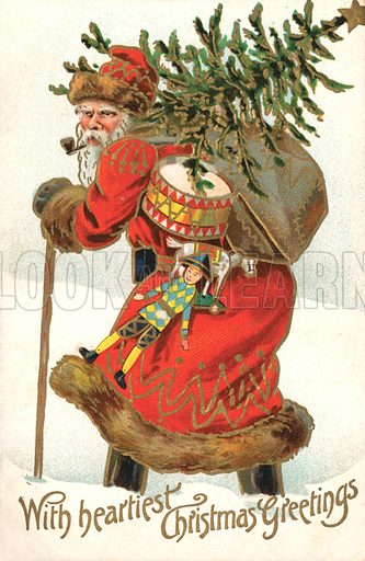 Christmas card, Santa Claus, carrying a Christmas tree and presents through the snow