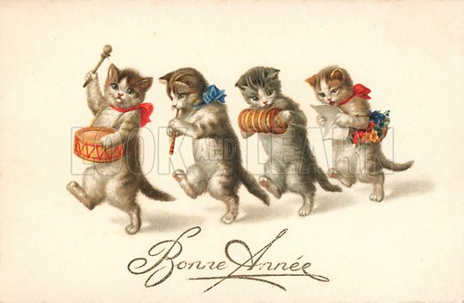 Comic cats, in a band