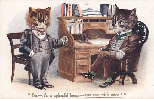 Comic cats, Estate Agents' Office, Yes – it's a splendid house – over-run with mice! Postcard, very early 20th century.