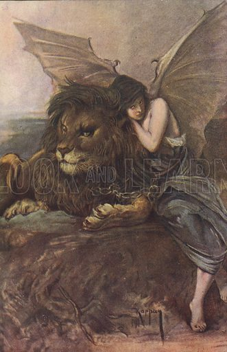 Lion and winged woman.