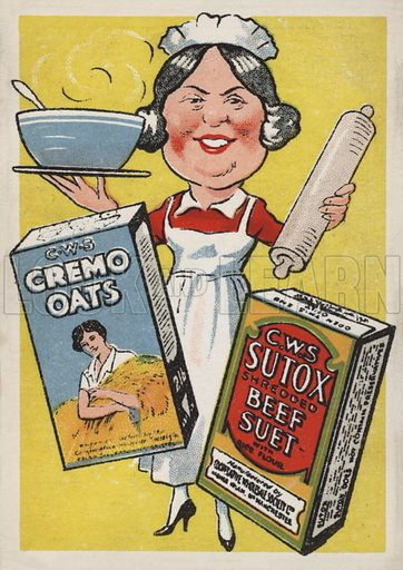 CWS Cremo oats and Sutox beef suet. Postcard from a series advertising products of the Co-operative Wholesale Society (CWS), early 20th Century.