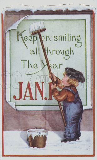 Keep on smiling all through the Year. New Year's Greetings card depicting a young boy pasting a poster onto a wall.