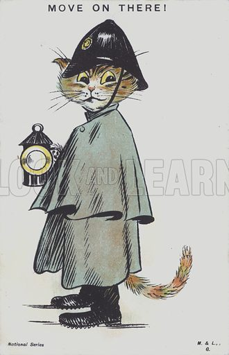 A cat dressed as a policeman on the night watch. Postcard.