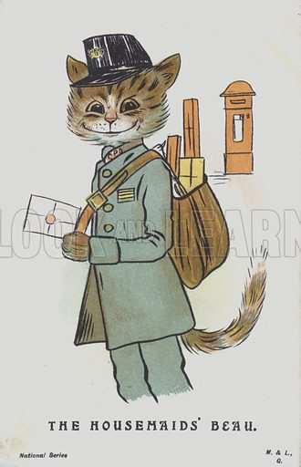 A cat dressed as a postman delivering a letter to or from the housemaid. Postcard.
