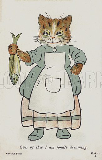 A cat dressed as a woman looks fondly upon a fish. Postcard.