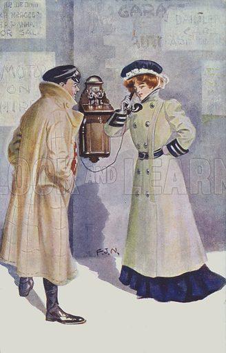 Man watching a woman make a telephone call