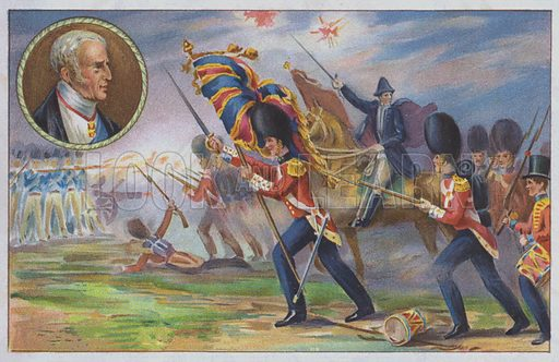 The Duke of Wellington commanding the British army at the Battle of Waterloo, 1815. Postcard.