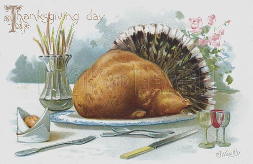 Thanksgiving Day greetings card depicting a turkey on the dinner table