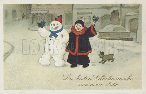 German New Year greetings card depicting a snowman and a clown in a snowy town. Postcard.