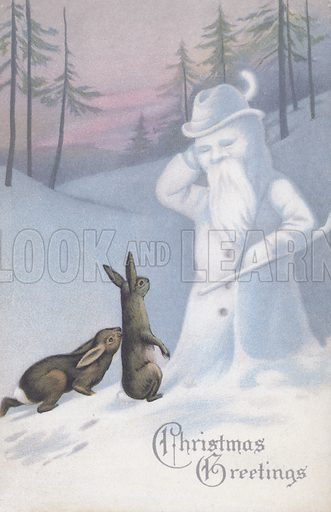 Christmas greetings card depicting two rabbits encountering a snowman in a wintry scene