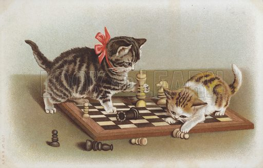 Two kittens playing with chess pieces