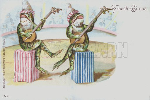 Frog circus. Postcard, early 20th century.