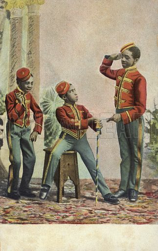 Three young black hotel bellboys. Postcard, early 20th century.