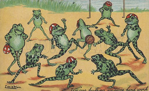 Frogs playing football