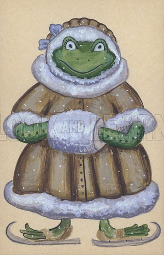 Frog wearing a coat, muff and a pair of ice skates