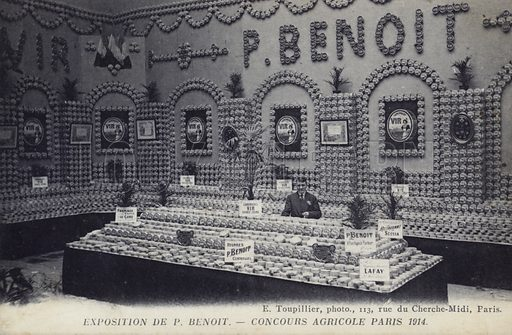 Display of P Benoit's butter and Camembert cheese at the Concours Agricole, Paris, 1914