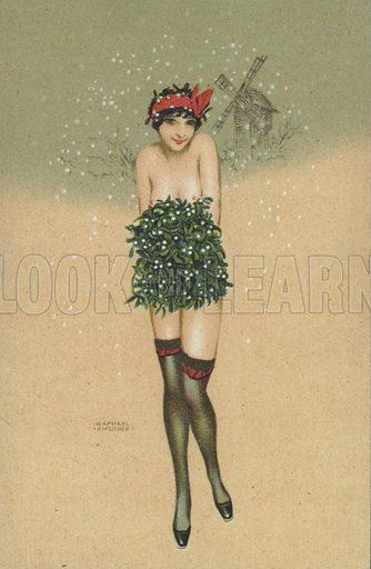 Girl carrying a bunch of mistletoe