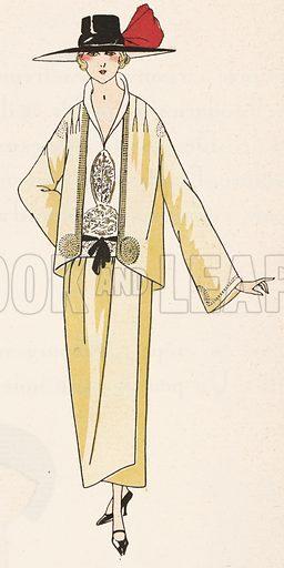 Crepe de Chine tailored suit by designer Jean patou, 1920s. Illustration from Art-Gout-Beaute - Feuillets de L'Elegance Feminine, May 1922. French fashion magazine.