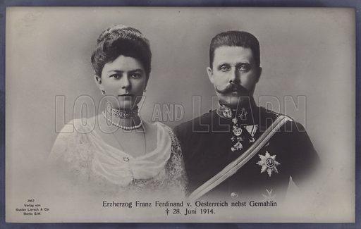 Sophie, Duchess of Hohenberg, and her husband Archduke Franz Ferdinand of Austria, both assassinated in Sarajevo on 28 June 1914. Postcard.