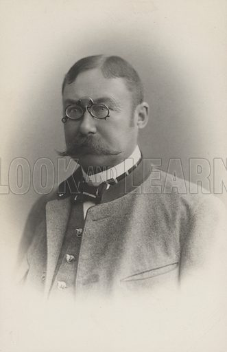Man, presumably German or Austrian, with a fine moustache and weating a pince-nez.  Postcard, early 20th century.