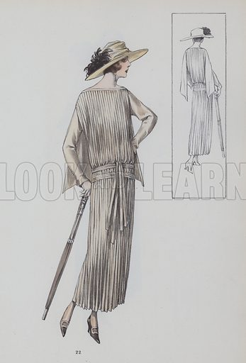 French female fashion plate, 1920s. Illustration for Beaux Arts Des Modes, Modeles Originaux, 1923 (Max Grab, March 1923).