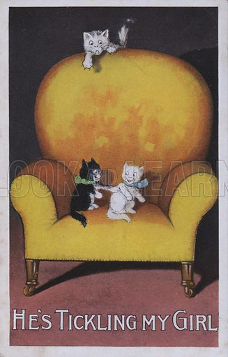 Cats playing on a yellow chair – he's tickling my girl. Postcard, early 20th century.