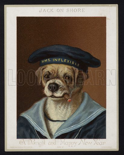 Jack On Shore, Anthropomorphic dog, New Year's Greeting Card