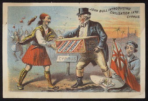 John Bull introducing civilization into Cyprus, advertisement for Higgins German laundry soap.