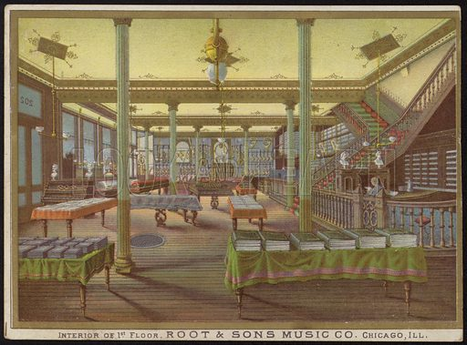 Interior of the first floor, Root & Sons Music Co, Chicago, Illinois, USA.