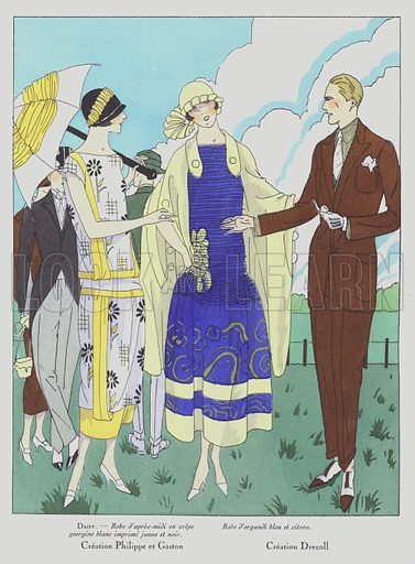 Women's fashion of the 1920s by designers Philippe and Gaston, and Drecoll. Illustration from Art-Gout-Beaute - Feuillets de L'Elegance Feminine, June 1924. French fashion magazine.