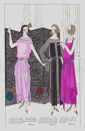 Women's evening dresses by designer Jean Patou in the 1920s. Illustration from Art-Gout-Beaute – Feuillets de L'Elegance Feminine, January 1922. French fashion magazine.