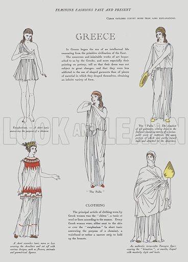 1920s depiction of women's fashion in Ancient Greece. Illustration from Art-Gout-Beaute - Feuillets de L'Elegance Feminine, January 1922. French fashion magazine.