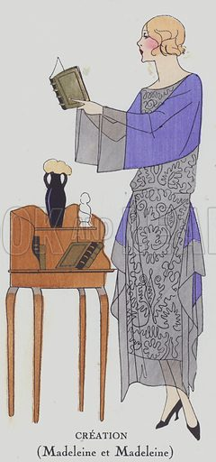 Women's fashion design from the 1920s by designer Madeleine and Madeleine. Illustration from Art-Gout-Beaute – Feuillets de L'Elegance Feminine, March 1922. French fashion magazine.