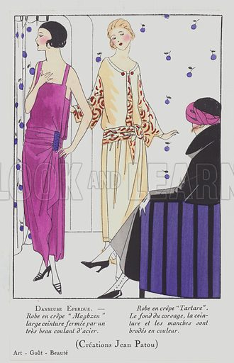Women's fashion from the 1920s by designer Jean Patou. Illustration from Art-Gout-Beaute - Feuillets de L'Elegance Feminine, March 1922. French fashion magazine.