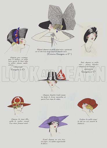 Hat designs from the 1920s, some .by Georgette and Cie.  Illustration from Art-Gout-Beaute - Feuillets de L'Elegance Feminine, March 1922. French fashion magazine.