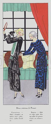 Women's fashion of the 1920s by designer Premet. Illustration from Art-Gout-Beaute - Feuillets de L'Elegance Feminine, October 1923. French fashion magazine.