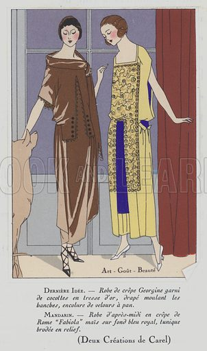 Women's fashion from the 1920s by designer Carel. Illustration from Art-Gout-Beaute – Feuillets de L'Elegance Feminine, 1920s. French fashion magazine.