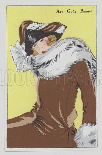 Women's hat design from the 1920s. Illustration from Art-Gout-Beaute - Feuillets de L'Elegance Feminine, 1920s. French fashion magazine.